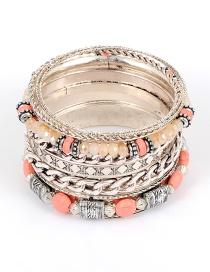 Fashion Pink Bead Decorated Multi-layer Bracelet (8 Pcs)