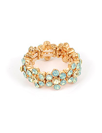 Fashion Gold Color+green Flower Shape Decorated Ring