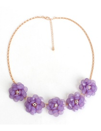 Fashion Purple Flower Decorated Necklace