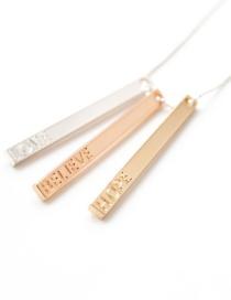 Fashion Gold Color Rectangle Shape Decorated Necklace