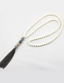 Fashion White Bead Decorated Necklace