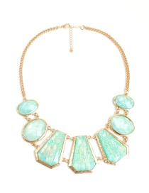 Fashion Light Green Geometric Shape Decorated Necklace