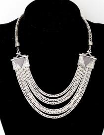Fashion Silver Color Pure Color Decoraed Necklace