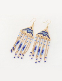 Fashion Sapphire Blue Bead Decorated Tassel Pure Color Earrings