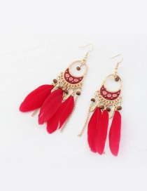 Fashion Red Feather Decorated Tassel Pure Color Earrings