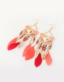 Fashion Pink Feather&leaf Decorated Semicircle Shape Pure Color Earrings