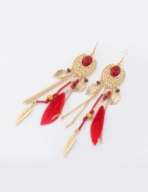 Fashion Red Feather&leaf Decorated Pure Color Earrings