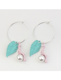 Fashion Green Pearl Decorated Leaf Shape Simple Earrings