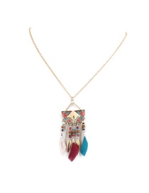 Fashion Multi-color Leaf Shape Decorated Simple Necklace
