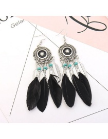 Vintage Black Feather&beads Decorated Pure Color Earrings