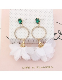 Fashion White Flowers&circular Ring Decorated Simple Earrings