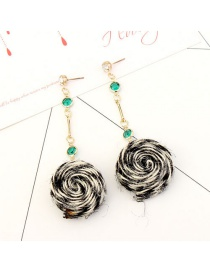 Fashion Black+beige Round Shape Decorated Long Earrings
