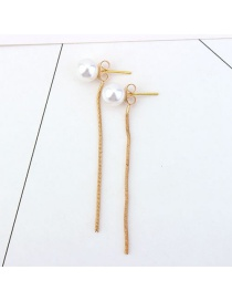 Elegant Gold Color Long Tassel Decorated Pure Color Earrings