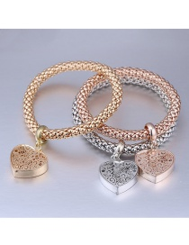 Fashion Gold Color+silver Color+rose Gold Heart Shape Decorated Bracelet (3 Pcs)