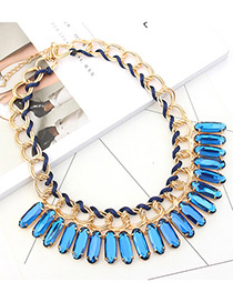 Trendy Blue Square Shape Diamond Decorated Pure Color Necklace