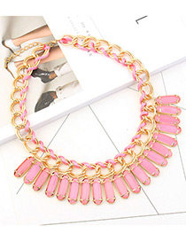 Trendy Pink Square Shape Diamond Decorated Pure Color Necklace
