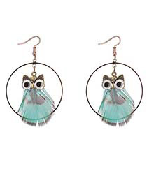 Lovely Blue Owl Shape Decorated Round Earrings