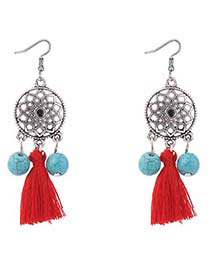 Bohemia Red Wind Chimes Decorated Tassel Earrings