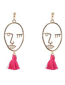 Personality Plum-red Hollow Out Decorated Mask Earrings