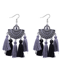Fashion Black+gray Sector Shape Decorated Earrings
