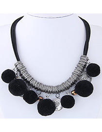 Fashion Black Ball Decorated Pom Necklace