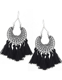 Trendy Black Moon Shape Decorated Tassel Earrings