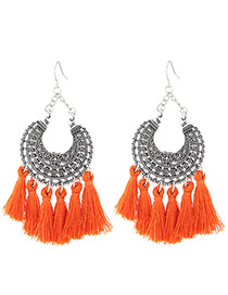 Trendy Orange Moon Shape Decorated Tassel Earrings