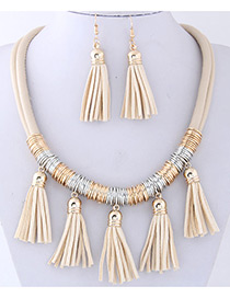 Fashion Beige Tassel Decorated Pure Color Jewelry Sets