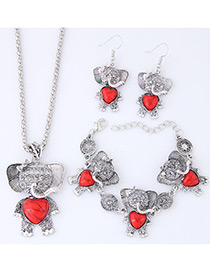Lovely Red Bear Pendant Decorated Jewelry Sets