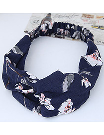 Lovely Navy Flower Shape Decorated Hair Band