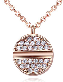 Fashion Rose Gold Color Round Shape Decorated Necklace