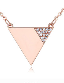 Fashion Rose Gold Color Triangle Shape Decorated Necklace