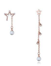 Elegant Rose Gold Star Shape Decorated Earrings