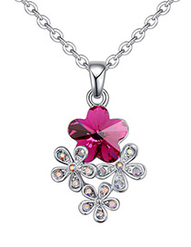 Fashion Plum-red Flower Shape Decorated Necklace