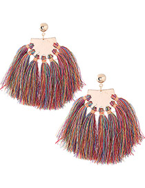 Bohemia Multi-color Tassel Decorated Earrings