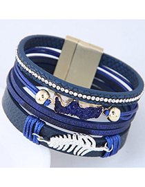 Personality Sapphire Blue Metal Leaf Shape Decorated Multilayer Bracelet