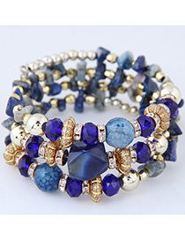 Elegant Sapphire Blue Round Shape Decorated Multilayer Bracelet