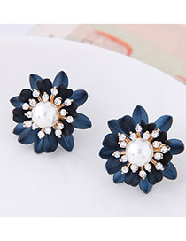 Fashion Navy Flower Shape Decorated Earrings