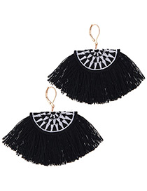 Fashion Black+white Tassel Decorated Earrings