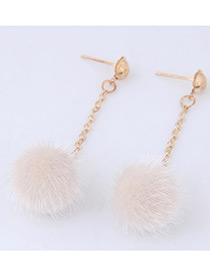 Fashion White Pure Color Decorated Pom Earrings