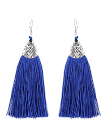 Fashion Sapphire Blue Long Tassel Decorated Simple Earrings