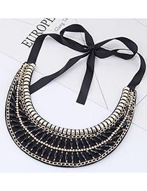 Trendy Black Diamond Decorated Collar Necklace