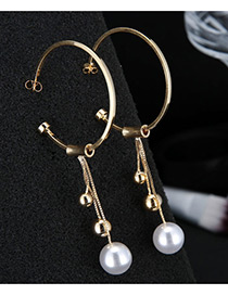 Sweet Gold Color Balls&pearls Decorated Tassel Earrings