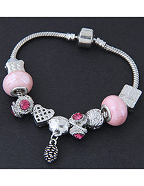 Elegant Pink Pineapple Decorated Simple Bracelet
