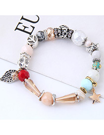 Elegant Multi-color Stars&leaf Decorated Bracelet
