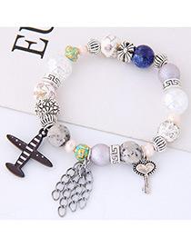 Elegant Multi-color Aircraft&lock Dcorated Bracelet