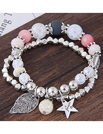 Elegant Silver Color+pink Stars&leaf Decorated Double Layer Bracelet
