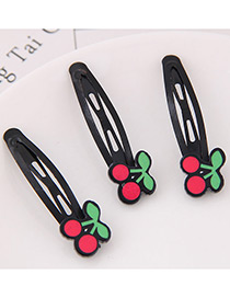 Cute Red+green Cherry Shape Decorated Hairpin (3pcs)
