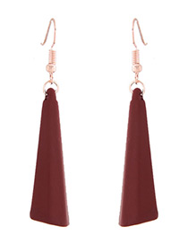 Fashion Dark Red Vertical Shape Decorated Earrings
