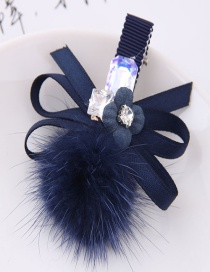 Lovely Dark Blue Flower&bowknot Decorated Hairpin
